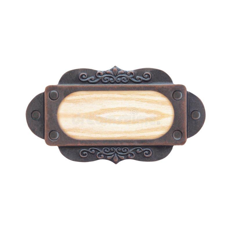 Κενό ξύλινο σημάδι με το πλαίσιο χάλυβα που απομονώνεται στο λευκό στοκ φωτογραφία με δικαίωμα ελεύθερης χρήσης