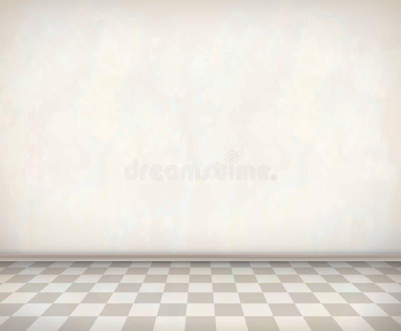 Κενό πάτωμα κεραμιδιών τοίχων δωματίων άσπρο ελεύθερη απεικόνιση δικαιώματος