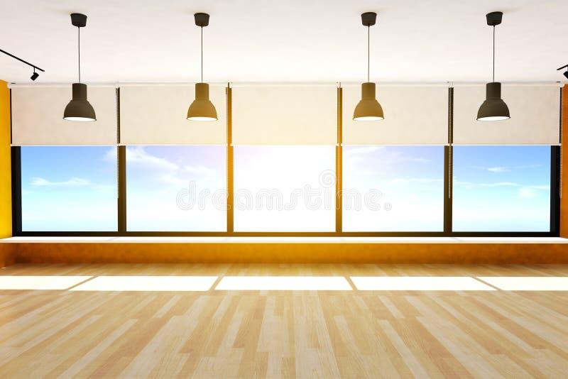 Κενό πάτωμα δωματίων και παρκέ με τα μεγάλους παράθυρα και τους ανώτατους λαμπτήρες, τρισδιάστατη απόδοση στοκ φωτογραφία με δικαίωμα ελεύθερης χρήσης