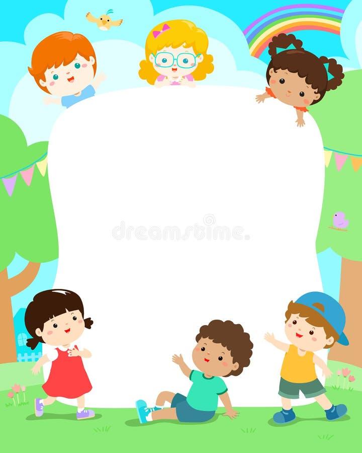 Κενό παιδικών χαρών διάνυσμα σχεδίου αφισών παιδιών προτύπων ευτυχές απεικόνιση αποθεμάτων