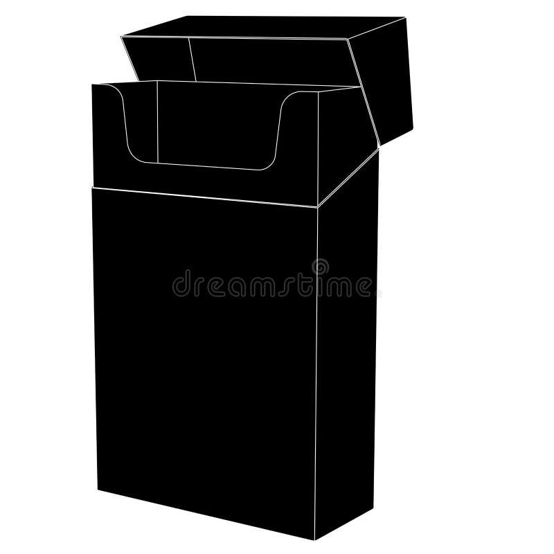 Κενό πακέτο των τσιγάρων Μαύρο επίπεδο εικονίδιο ελεύθερη απεικόνιση δικαιώματος