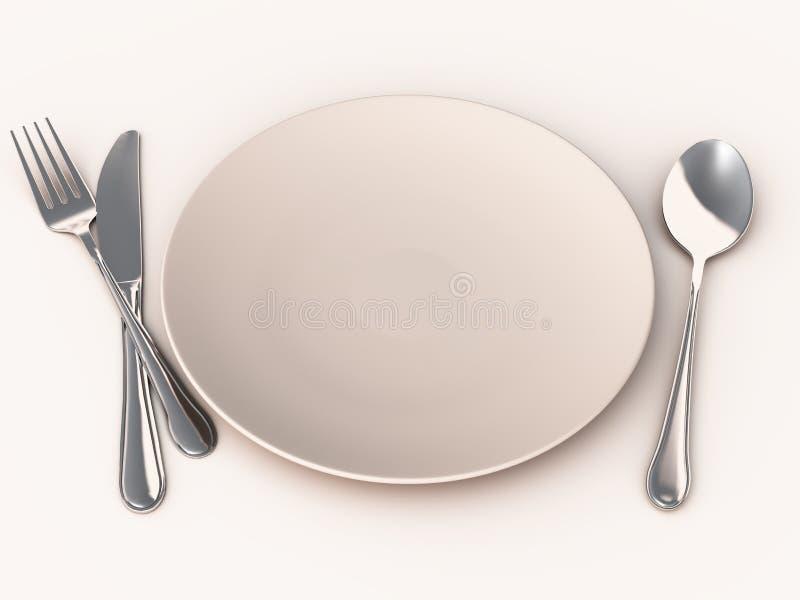 κενό πιάτο γεύματος διανυσματική απεικόνιση
