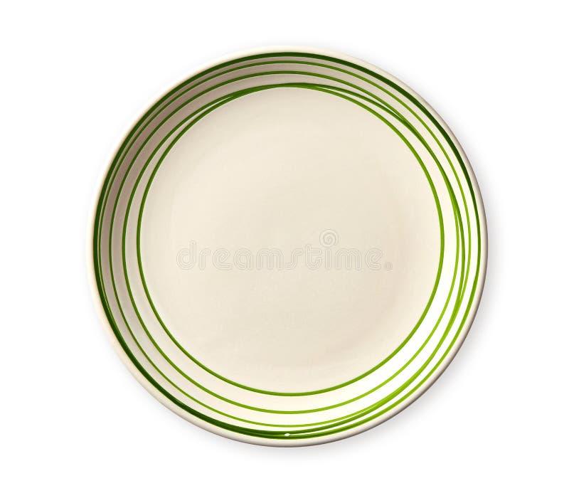 Κενό πιάτο με την πράσινη άκρη σχεδίων, κεραμικό πιάτο με το σπειροειδές σχέδιο στις μορφές watercolor, που απομονώνονται στο άσπ στοκ φωτογραφία με δικαίωμα ελεύθερης χρήσης