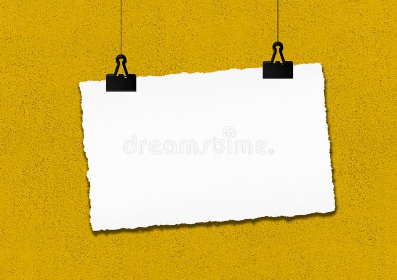 Κενό πλαίσιο εγγράφου που κρεμιέται από το συνδετήρα στο κίτρινο υπόβαθρο τοίχων grunge διανυσματική απεικόνιση