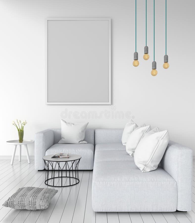 Κενό πλαίσιο φωτογραφιών για το πρότυπο στον τοίχο στο καθιστικό, τρισδιάστατη απόδοση διανυσματική απεικόνιση