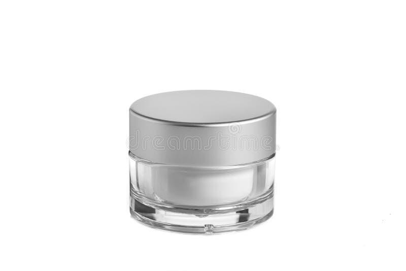 Κενό πλαστικό, καλλυντικό βάζων γυαλιού, συσκευασία λοσιόν σε ένα άσπρο υπόβαθρο στοκ φωτογραφία με δικαίωμα ελεύθερης χρήσης