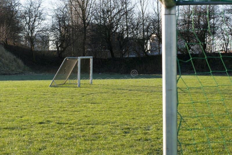 κενό ποδόσφαιρο δύο στόχων στοκ εικόνες
