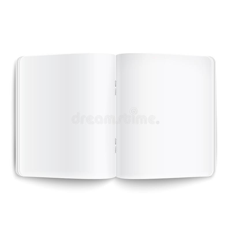 Κενό που ανοίγουν copybook στο άσπρο υπόβαθρο. απεικόνιση αποθεμάτων