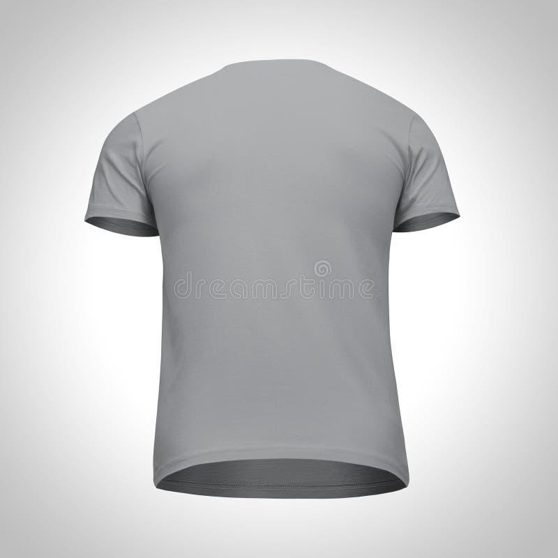 Κενό προτύπων κοντό μανίκι μπλουζών ατόμων γκρίζο, πίσω άποψη από κάτω προς τα επάνω, στο γκρίζο υπόβαθρο Μπλούζα έννοιας προτύπω στοκ εικόνα με δικαίωμα ελεύθερης χρήσης