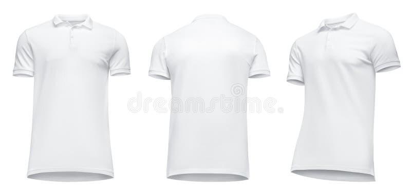 Κενό προτύπων κοντό μανίκι πουκάμισων πόλο ατόμων άσπρο, μισή στροφή μπροστινής άποψης από κάτω προς τα επάνω, απομονωμένος στο ά στοκ εικόνες