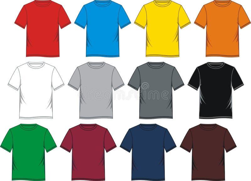 Κενό προτύπων μπλουζών ζωηρόχρωμο απεικόνιση αποθεμάτων