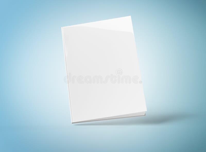 Κενό πρότυπο βιβλίων hardcover που επιπλέει στην μπλε τρισδιάστατη απόδοση ελεύθερη απεικόνιση δικαιώματος