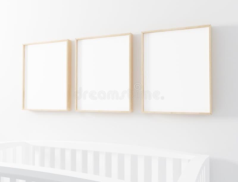Κενό πρότυπο βρεφικών σταθμών πλαισίων με την κούνια μωρών ελεύθερη απεικόνιση δικαιώματος