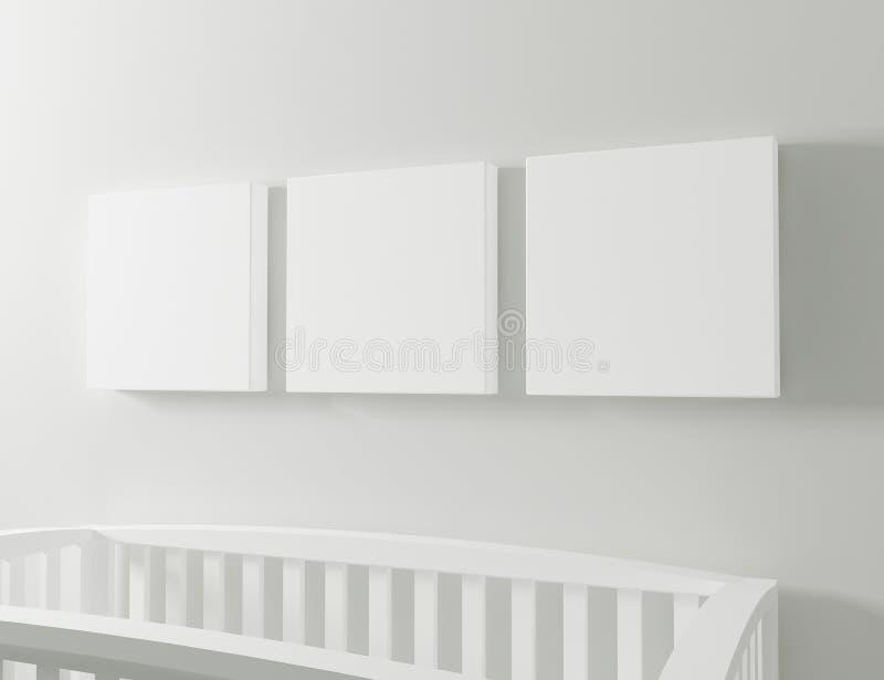 Κενό πρότυπο καμβά με την κούνια μωρών διανυσματική απεικόνιση