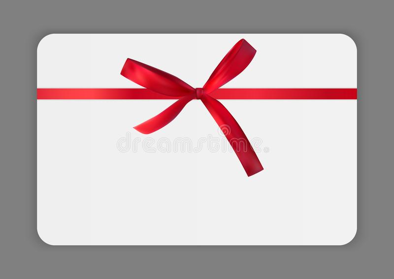 Κενό πρότυπο καρτών δώρων με το κόκκινες τόξο και την κορδέλλα Διανυσματική απεικόνιση για την επιχείρησή σας ελεύθερη απεικόνιση δικαιώματος