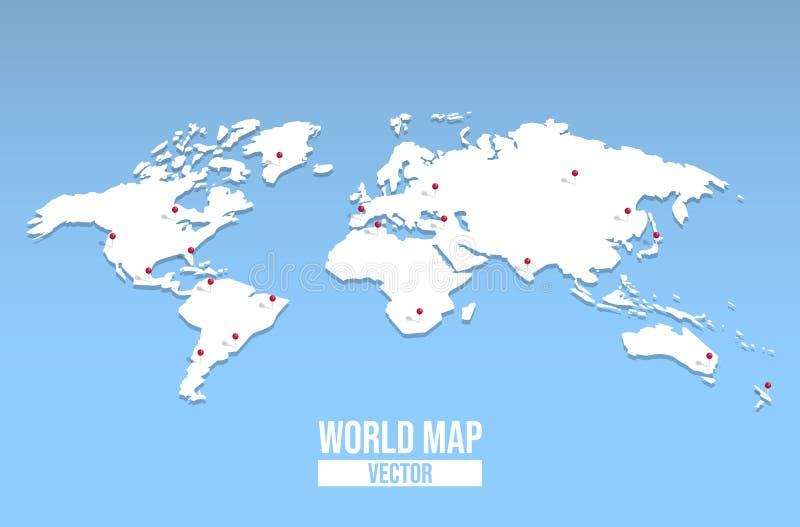 Κενό πρότυπο παγκόσμιων χαρτών με την κόκκινη καρφίτσα θέσης απεικόνιση αποθεμάτων