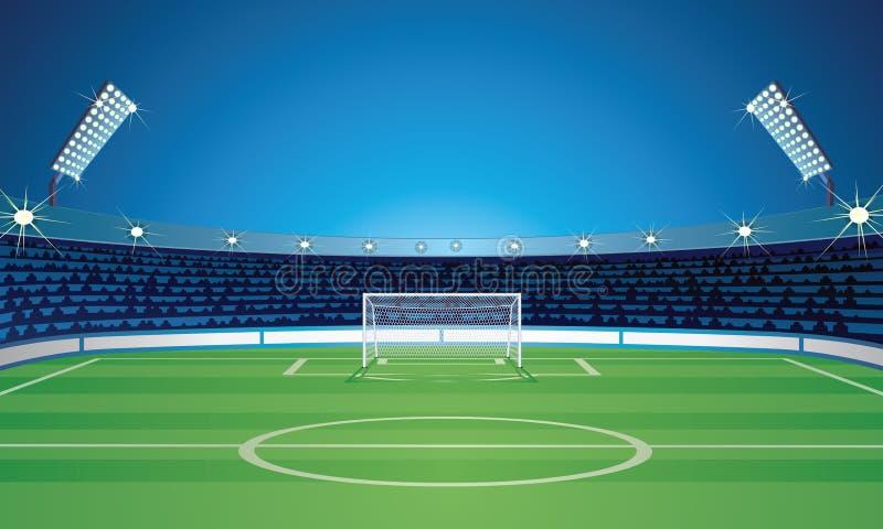Κενό πρότυπο σκηνικού με το στάδιο γηπέδων ποδοσφαίρου απεικόνιση αποθεμάτων