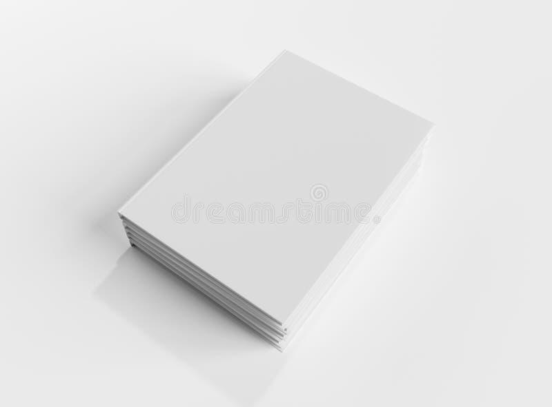 Κενό πρότυπο σωρών βιβλίων hardcover που απομονώνεται στην άσπρη τρισδιάστατη απόδοση υποβάθρου απεικόνιση αποθεμάτων