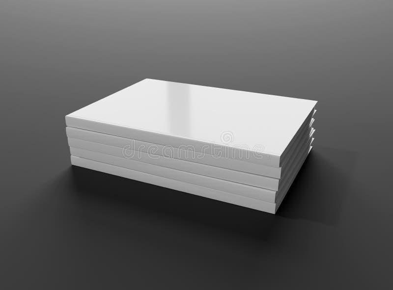 Κενό πρότυπο σωρών βιβλίων hardcover που απομονώνεται στην γκρίζα τρισδιάστατη απόδοση υποβάθρου διανυσματική απεικόνιση
