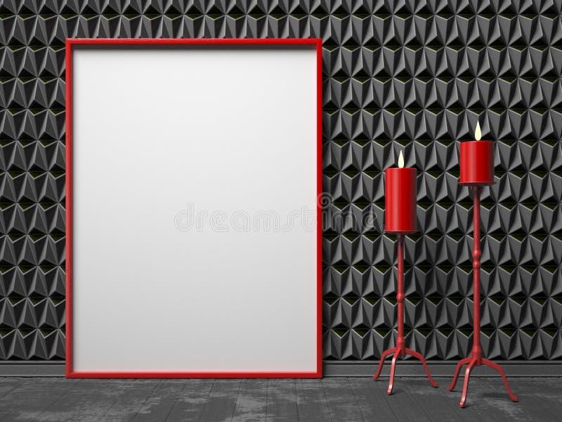 Κενό πλαίσιο εικόνων και κόκκινο κηροπήγιο δύο στο μαύρο triangulate ελεύθερη απεικόνιση δικαιώματος