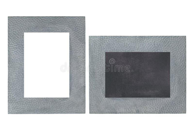 Κενό πλαίσιο εικόνων μετάλλων φιαγμένο από πραγματικό ασήμι με τον πίνακα μέσα στοκ φωτογραφία