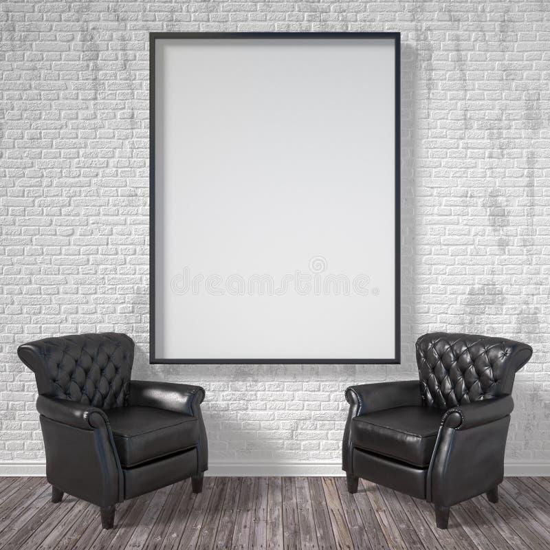 Κενό πλαίσιο εικόνων με τις μαύρες πολυθρόνες Χλεύη επάνω στην αφίσα τρισδιάστατος δώστε διανυσματική απεικόνιση