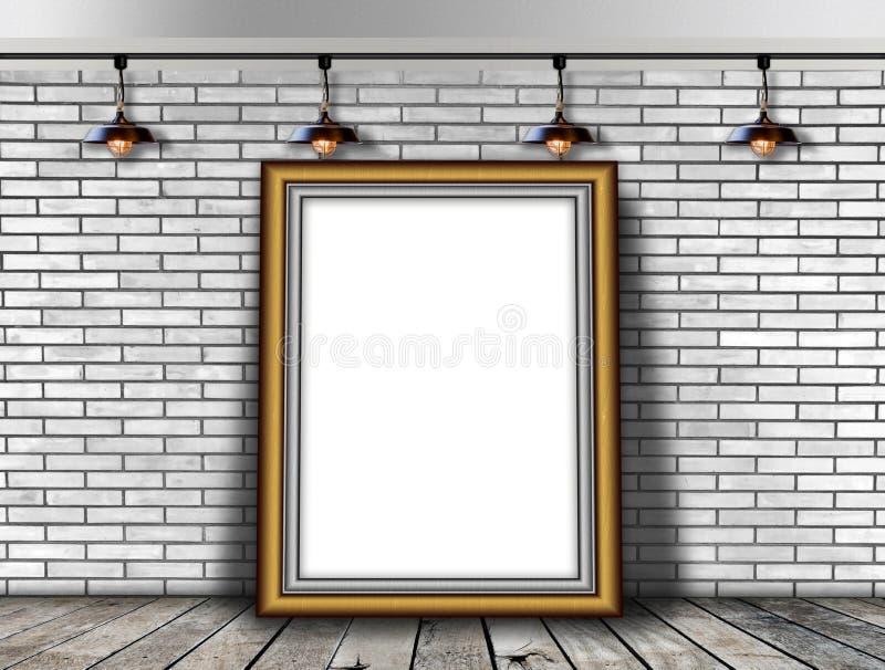 Κενό πλαίσιο εικόνων στο τουβλότοιχο στοκ εικόνα με δικαίωμα ελεύθερης χρήσης