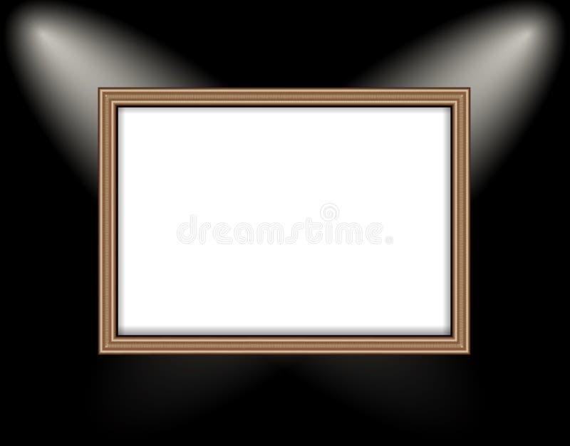 Κενό πλαίσιο επίκεντρα ενός στα χρωματισμένα τοίχων φωτισμού στοκ εικόνες