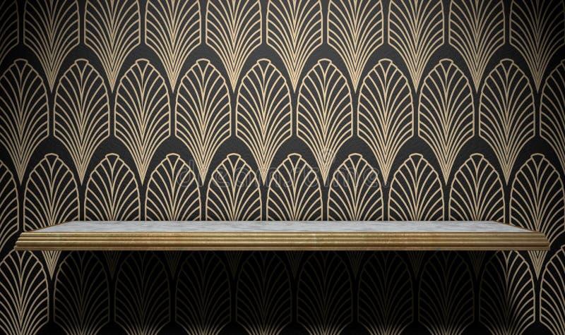 Κενό ράφι του Art Deco στον τοίχο ελεύθερη απεικόνιση δικαιώματος