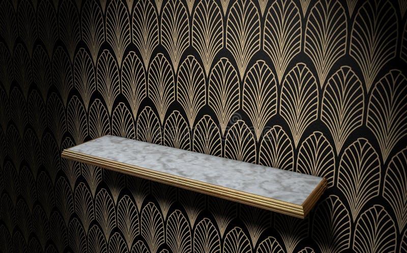 Κενό ράφι του Art Deco στον τοίχο διανυσματική απεικόνιση