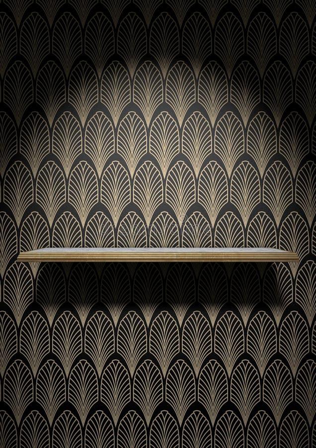Κενό ράφι του Art Deco στον τοίχο απεικόνιση αποθεμάτων