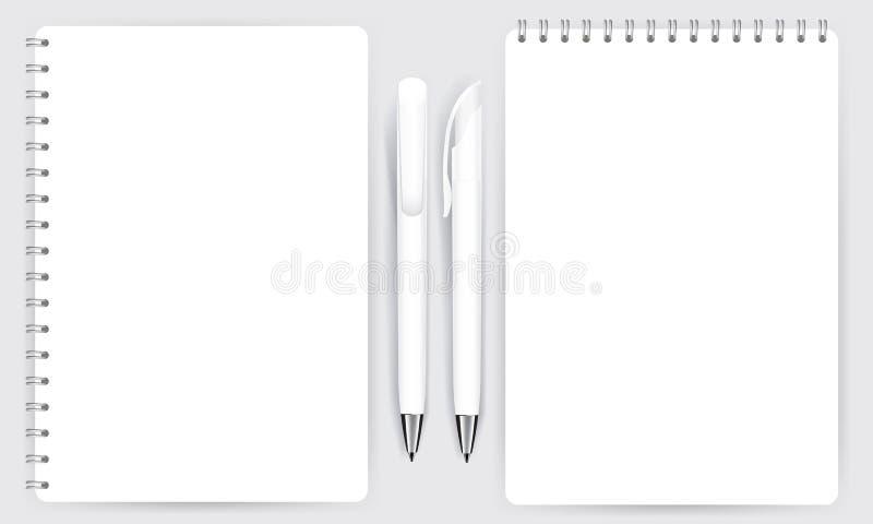 Κενό ρεαλιστικό σπειροειδές διάνυσμα σημειωματάριων και μανδρών σημειωματάριων απεικόνιση αποθεμάτων