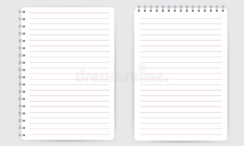 Κενό ρεαλιστικό σπειροειδές σημειωματάριο σημειωματάριων με απομονωμένο το γραμμές διάνυσμα απεικόνιση αποθεμάτων