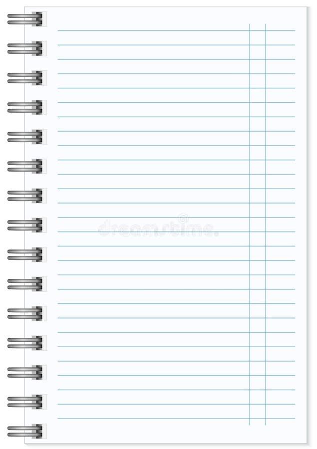 Κενό ρεαλιστικό σπειροειδές σημειωματάριο σημειωματάριων που απομονώνεται απεικόνιση αποθεμάτων