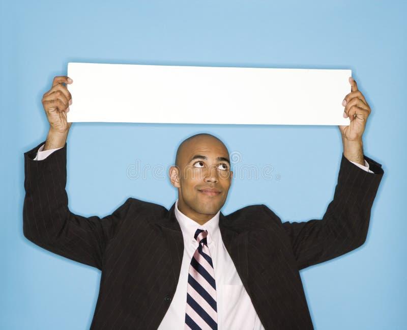 κενό σημάδι επιχειρηματιών στοκ εικόνες