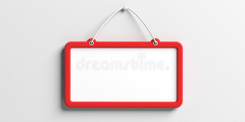 Κενό σημάδι με την κόκκινη ένωση πλαισίων στο άσπρο υπόβαθρο τοίχων, διάστημα αντιγράφων τρισδιάστατη απεικόνιση διανυσματική απεικόνιση