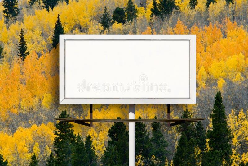 Κενό σημάδι πινάκων διαφημίσεων με το δάσος δέντρων της Aspen πτώσης στοκ φωτογραφίες