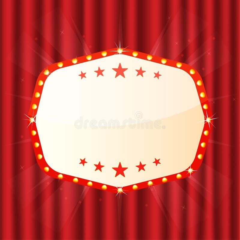 Κενό σημάδι στην κόκκινη κουρτίνα Κινηματογράφος, θέατρο, πινακίδα χαρτοπαικτικών λεσχών Αναδρομικό ελαφρύ πλαίσιο με τους καμμέν ελεύθερη απεικόνιση δικαιώματος