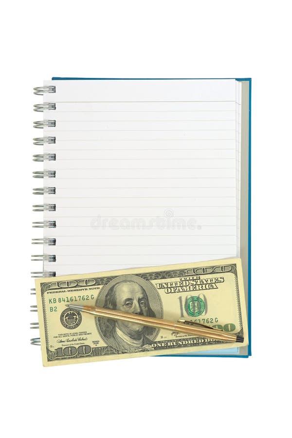 Κενό σημειωματάριο γραμμών λουρίδων με τη στριμμένη χρυσή μάνδρα άνω των της σημείωσης 100 δολαρίων στοκ εικόνες με δικαίωμα ελεύθερης χρήσης