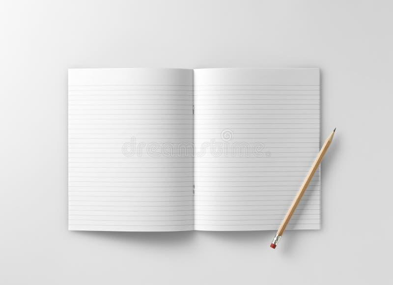 Κενό σημειωματάριο σχολικής άσκησης jotter με το μολύβι στοκ εικόνες με δικαίωμα ελεύθερης χρήσης