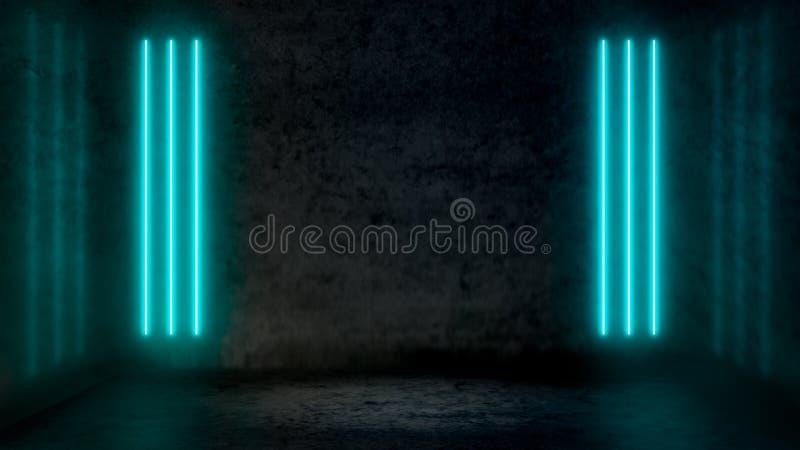 Κενό σκοτεινό αφηρημένο δωμάτιο με τα μπλε φθορισμού φω'τα νέου κρητιδογραφιών ελεύθερη απεικόνιση δικαιώματος