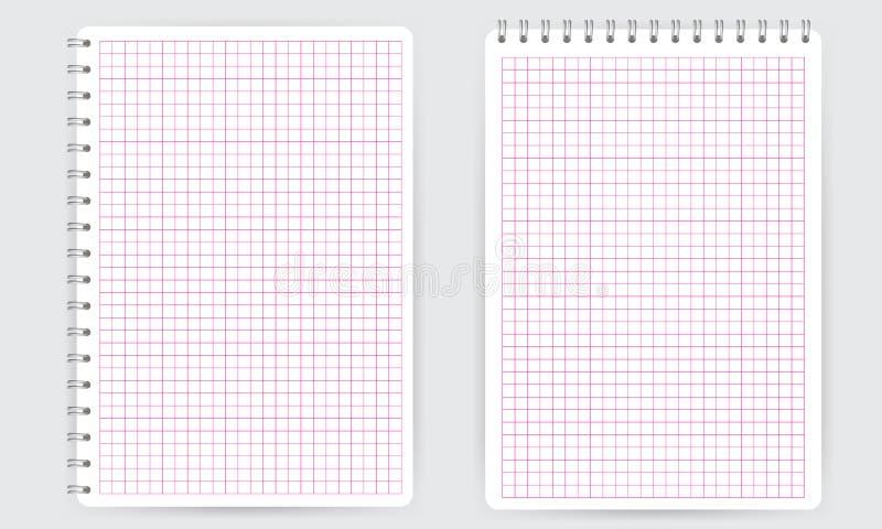 κενό σπειροειδές σημειωματάριο σημειωματάριων Λεπτύντε τις τακτοποιημένες math γραμμές πλέγματος διανυσματική απεικόνιση