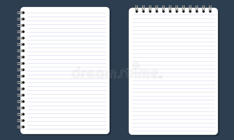 Κενό σπειροειδές σημειωματάριο σημειωματάριων με τις γραμμές Επίπεδο χρώμα και απομονωμένος απεικόνιση αποθεμάτων