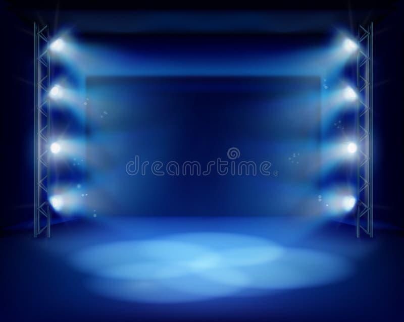 Κενό στάδιο κατά τη διάρκεια μιας θεατρικής απόδοσης διανυσματική απεικόνιση