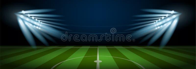 Κενό στάδιο χώρων αγωνιστικών χώρων ποδοσφαίρου με το επίκεντρο σταδίων διανυσματική απεικόνιση