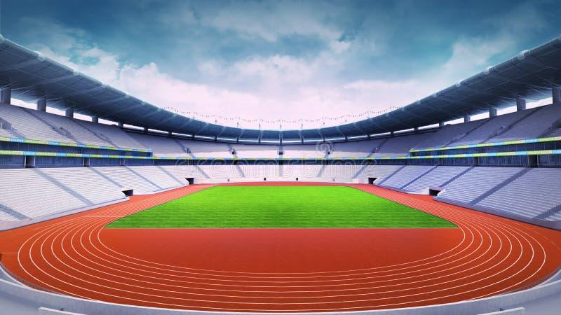 Στάδιο αθλητισμού με τη διαδρομή στην άποψη νύχτας πανοράματος Απεικόνιση  αποθεμάτων - εικονογραφία από τη, νύχτας: 57135810