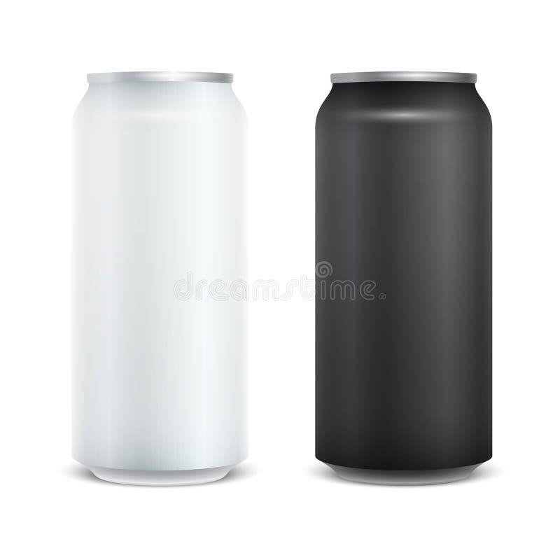 Κενό στιλπνό πακέτο μπύρας αλουμινίου μετάλλων άσπρο και μαύρο Πρότυπο προτύπων για το σχέδιό σας η ανασκόπηση απομόνωσε το λευκό διανυσματική απεικόνιση