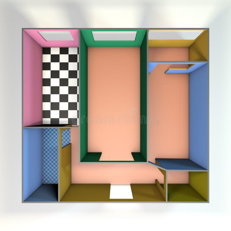 Κενό σχέδιο δωματίων η ανασκόπηση απομόνωσε το λευκό Τοπ όψη ελεύθερη απεικόνιση δικαιώματος