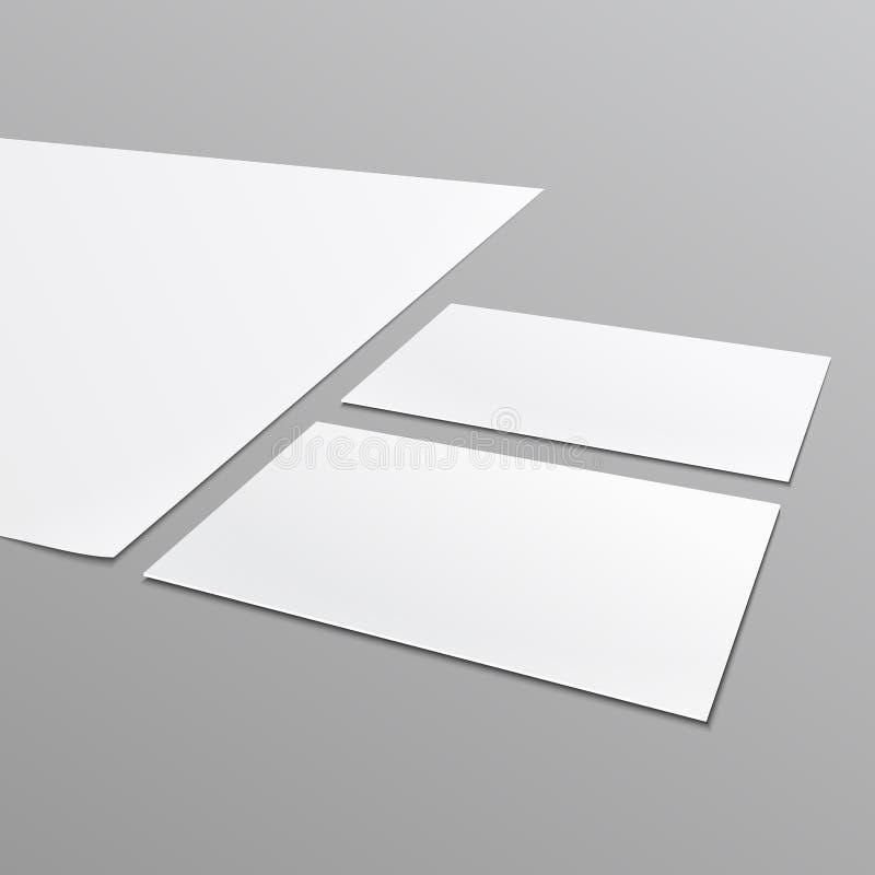 Κενό σχεδιάγραμμα χαρτικών, A4 έγγραφο, επαγγελματική κάρτα. απεικόνιση αποθεμάτων