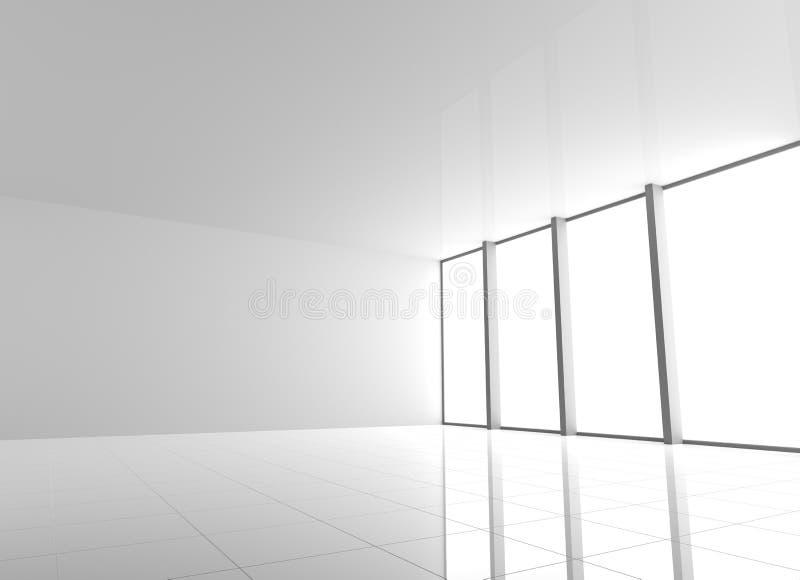 Κενό σύγχρονο άσπρο εσωτερικό με τα παράθυρα απεικόνιση αποθεμάτων